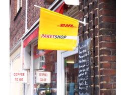 Paketshop-Werbeflagge Hochformat