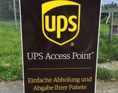 UPS-Paketshop Hinweisschild